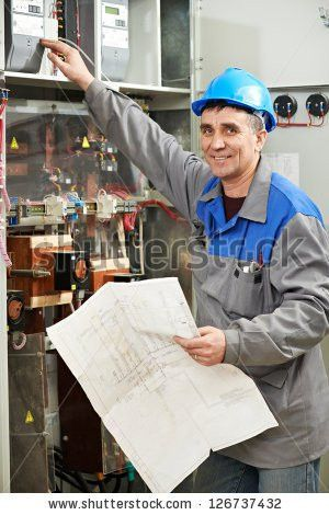 Smiling Electrician Work Checking Wire Drawing Stock Photo ...