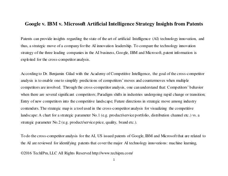 Google v. IBM v. Microsoft Artificial Intelligence Strategy Insights …
