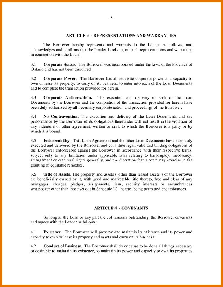7+ loan contract template   Itinerary Template Sample