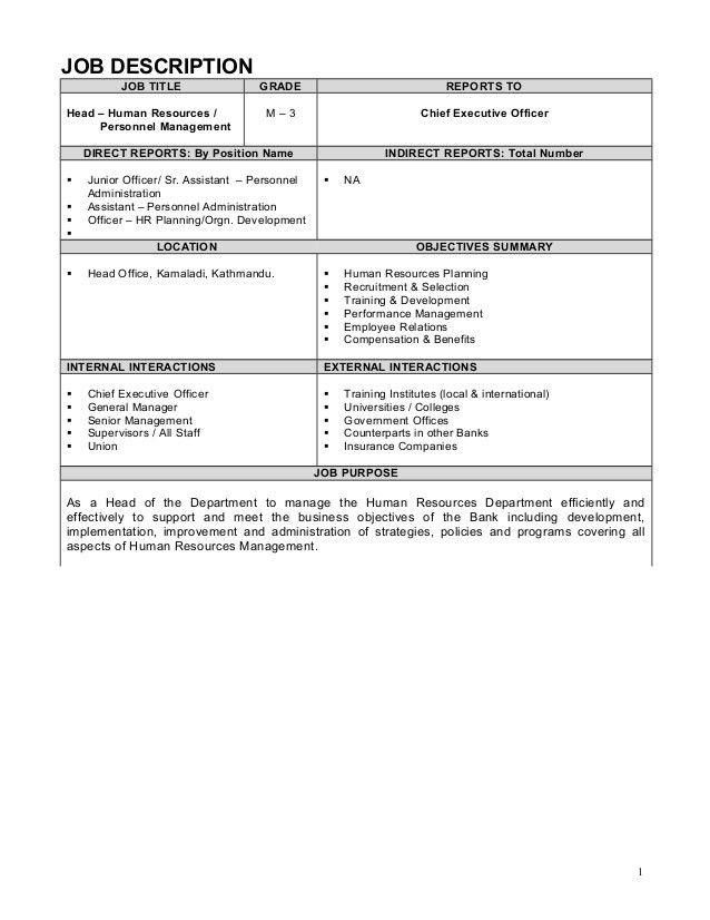 Job description Example