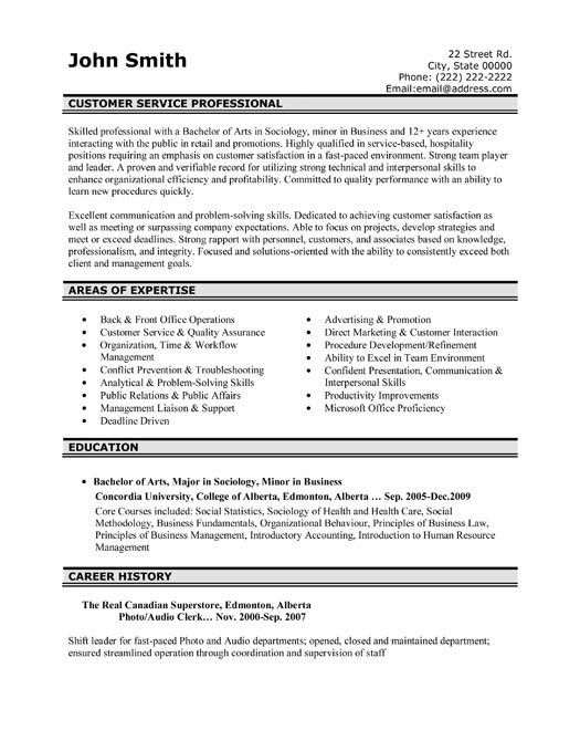 resume template for customer service representative. customer ...