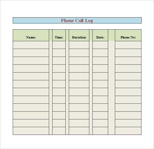 Phone Log Template - 8+ Free Word, PDF Documents Download | Free ...