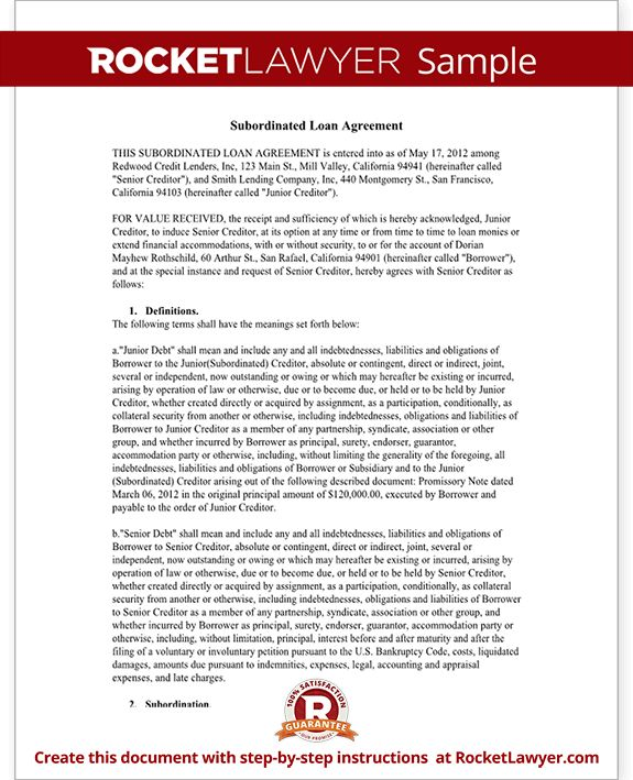 Subordination Agreement Form - Subordinated Loan Agreement (SLA) Form
