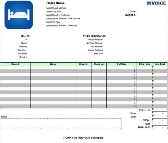 Free Hotel Invoice Template | Excel | PDF | Word (.doc)