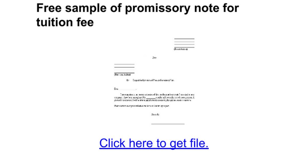 Free sample of promissory note for tuition fee - Google Docs