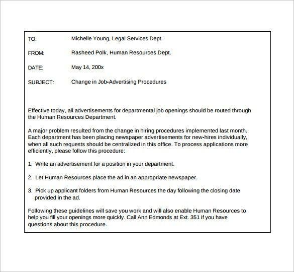 Sample Email Memo - 9+ Documents in PDF