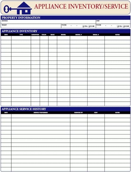 Appliance Inventory/Service Log | EZ Landlord Forms