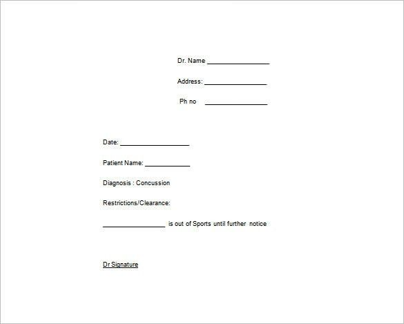 Doctors Note Template – 6+ Free Word, Excel, PDF Format Download ...