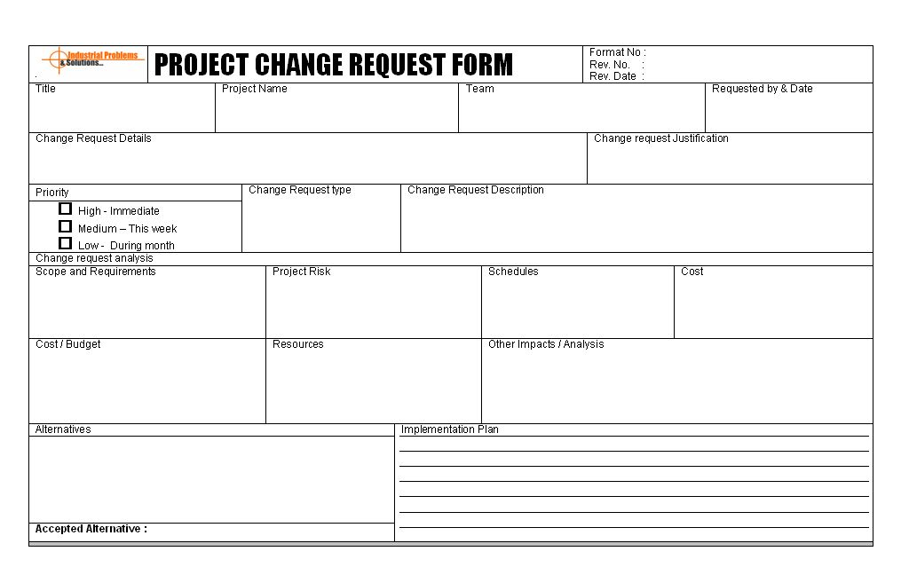 Project change management plan