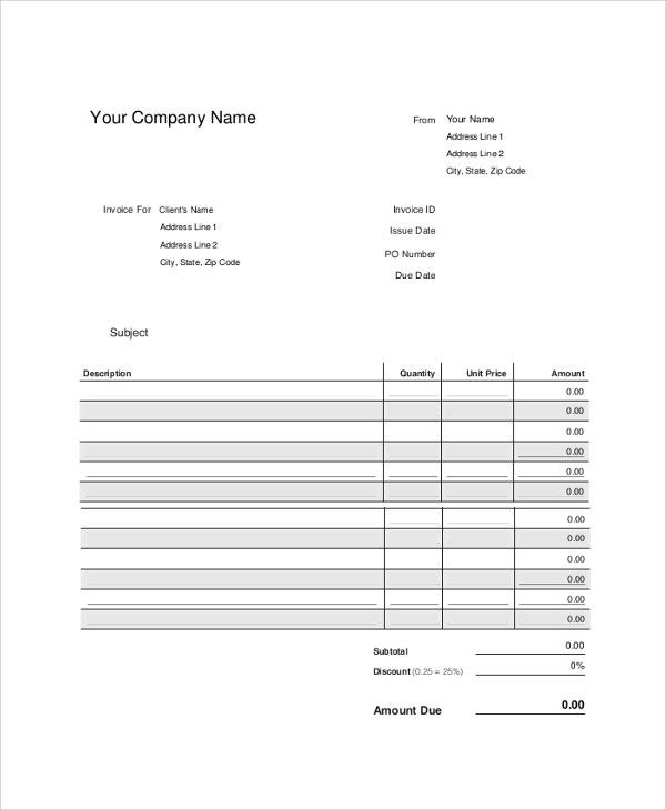 Sample Blank Invoice - 9+ Examples in PDF, Word, Excel