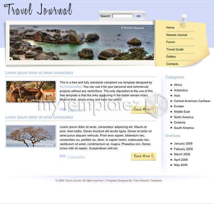 Free Templates CSS Templates Travel Travel Journal