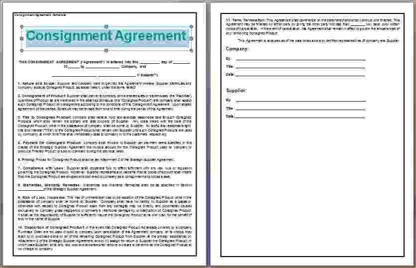 8+ Consignment Contract Template | Timeline Template