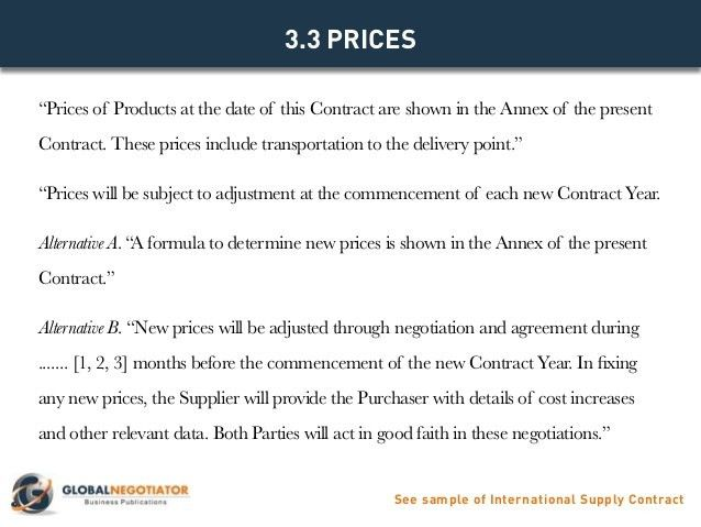 INTERNATIONAL SUPPLY CONTRACT - Contract Template and Sample