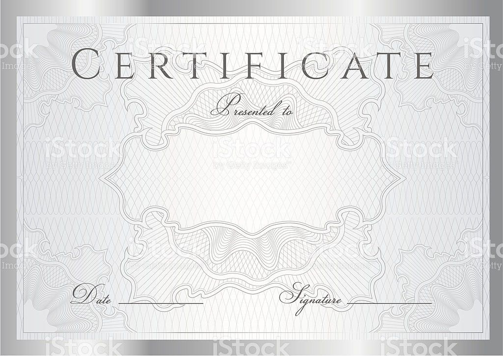 Silver Certificate Diploma Award Background With Frame Guilloche ...