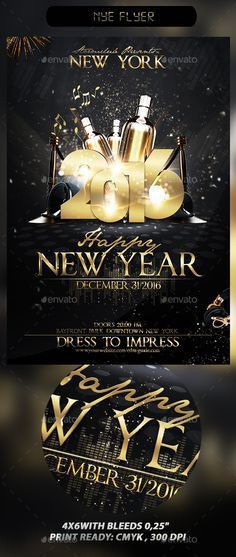 New Years Eve Free PSD Flyer Template - http://freepsdflyer.com ...