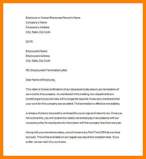 Sample Termination Letter - Template Examples