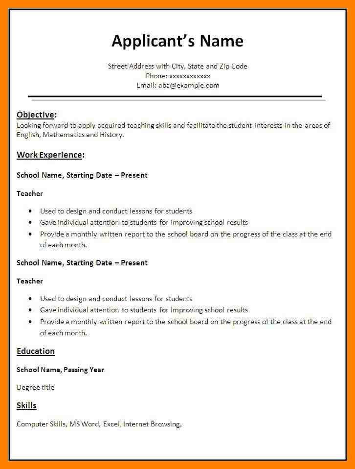 6+ biodata format for teacher job | emt resume