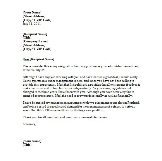 Resignation Letter Format: Enjoyed Working Resignation Letter ...