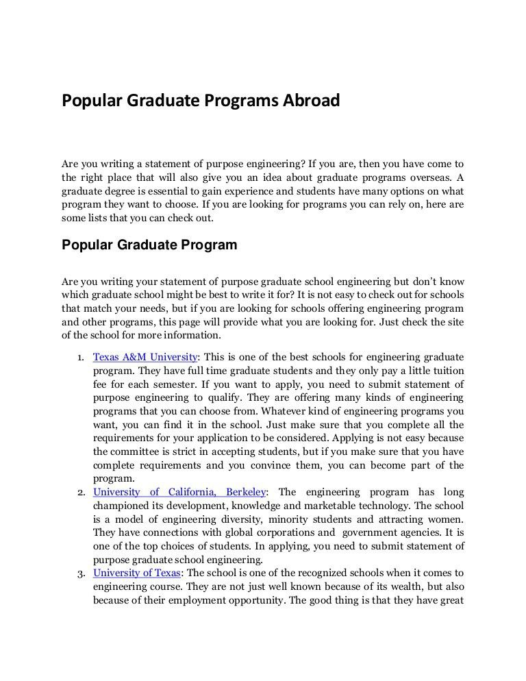 Graduate Programs Where to Send Your Statement of Purpose Engineering