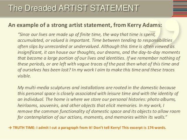 Sample Artist Statement. Artist Statement Examples Self Portrait ...