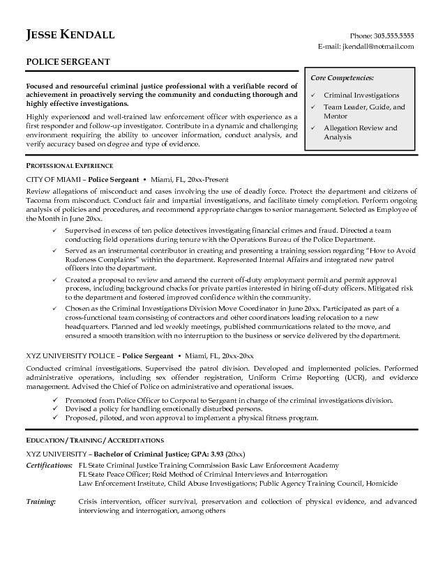 Best Police Resume Cover Letter and Police Sergeant and Criminal ...