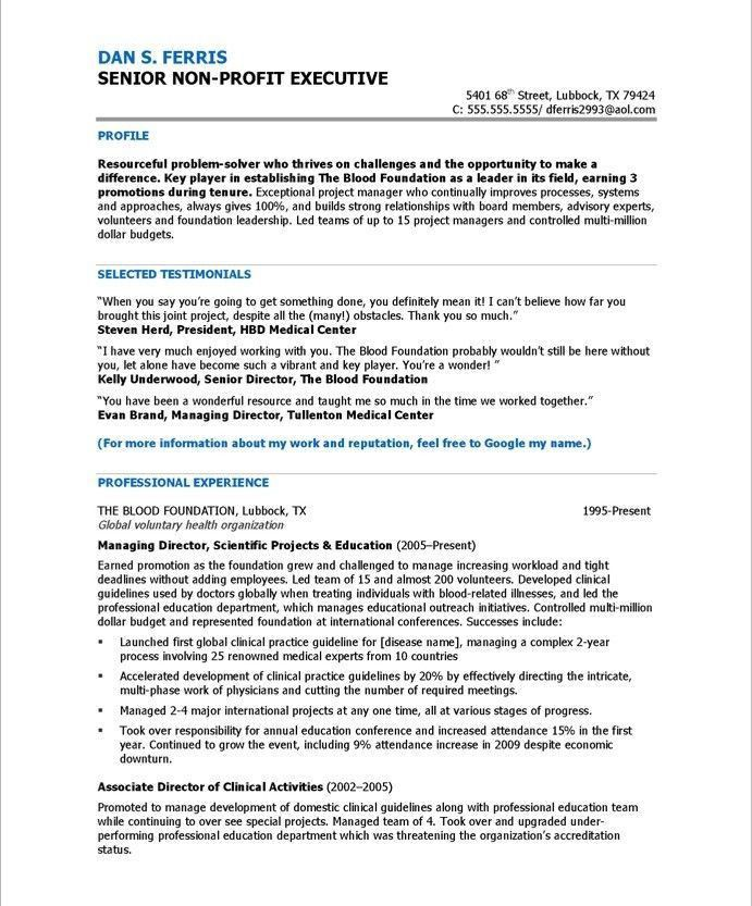 11 best Executive Resume Samples images on Pinterest | Executive ...