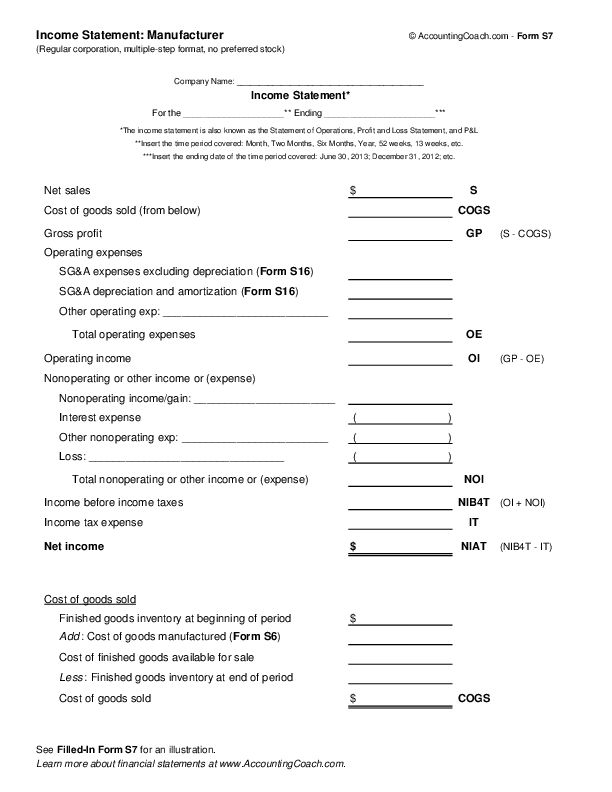 Income Statement: Manufacturer - Corporation, Multiple-Step ...