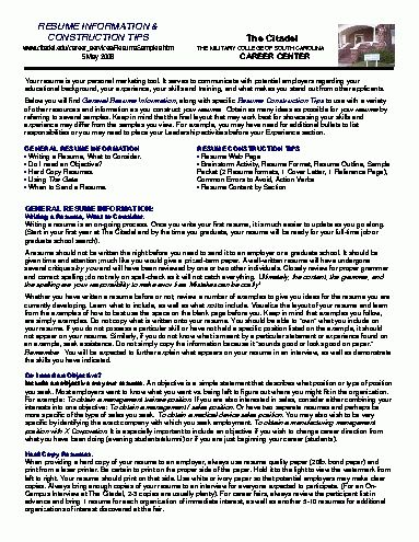 Resume Objective For Construction #6089