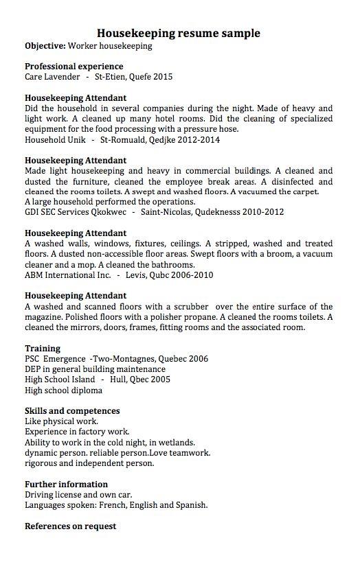housekeeping resume examples - RESUMEDOC