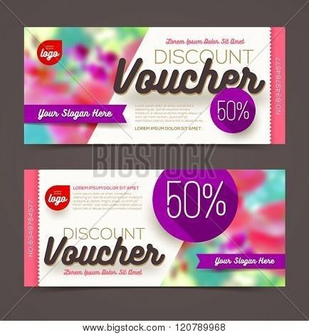 Discount voucher template - multicolor bright design, Vector ...