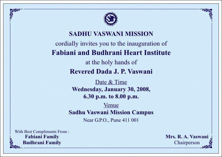 Invitation to the Official Inauguration of the Fabiani & Budhrani ...