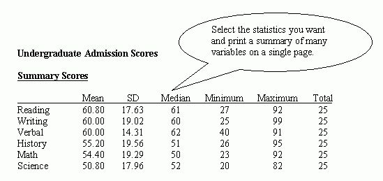 Example of a StatPac Descriptive Statistics Table