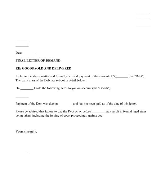 Letter of Demand - Sample Template - Word and PDF