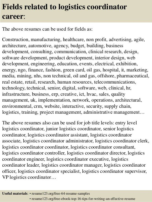 Download Logistics Coordinator Resume | haadyaooverbayresort.com