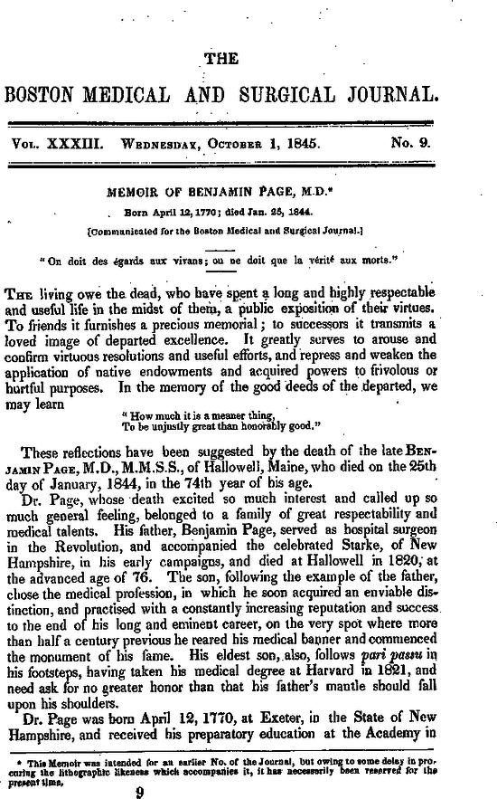 Memoir of Benjamin Page, M.D. — [Communicated for the Boston ...