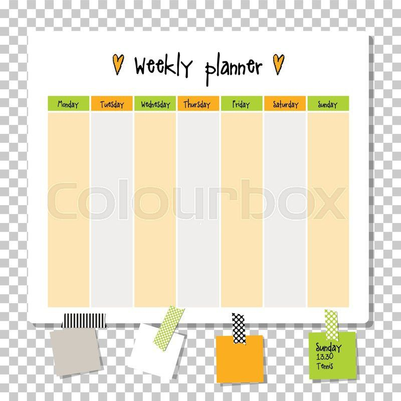 Weekly planner. Note paper, Notes, to do list. Organiser planner ...