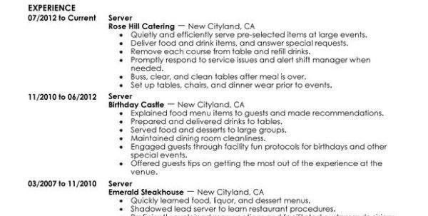restaurant waiter resume sample waitress resume objective samples
