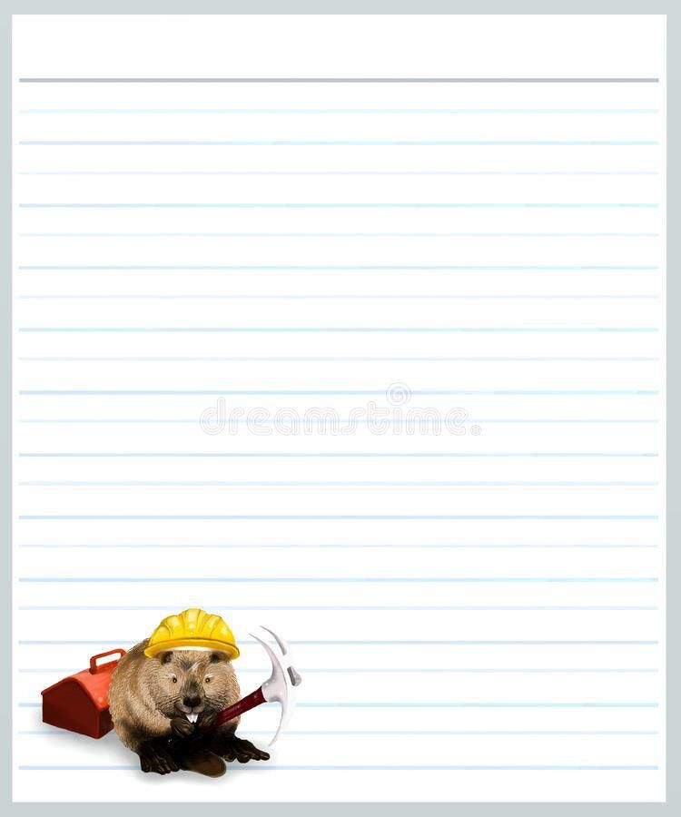 Beaver On Grey Color Lined Paper Royalty Free Stock Photo - Image ...
