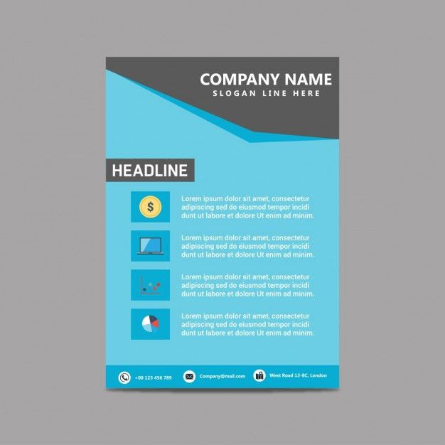 Blue simple brochure template Vector | Free Download