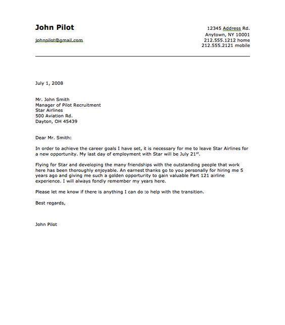 Sample of Airline Pilot Resignation Letter - http://resumesdesign ...