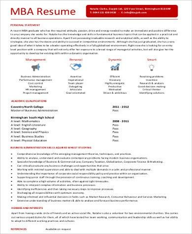 Sample MBA Resume - 7+ Examples in Word, PDF