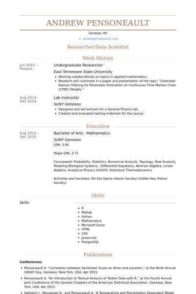 Undergraduate Researcher CV Örneği - VisualCV Özgeçmiş Örnekleri ...