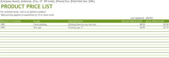 8 Free Product Price List Templates (MS Word and MS Excel ...