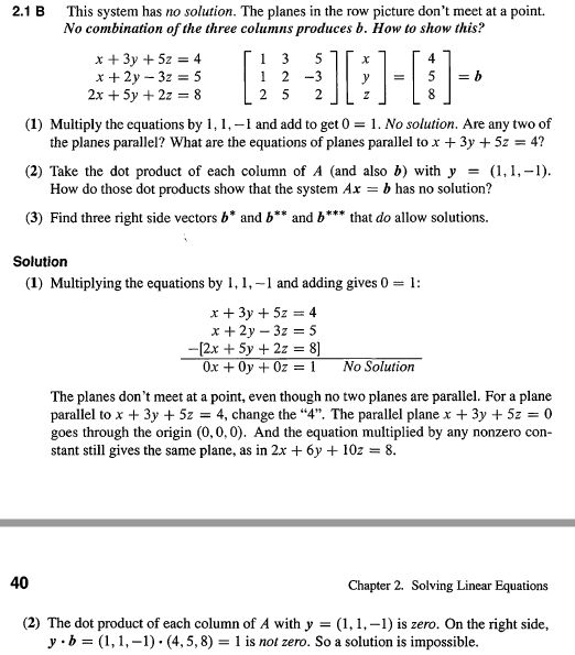 matrices - Questions About Column Vectors in A System of Linear ...