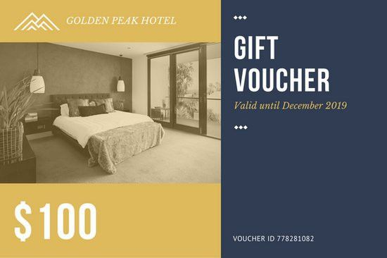 Gold Blue Hotel Room Photo Gift Certificate - Templates by Canva
