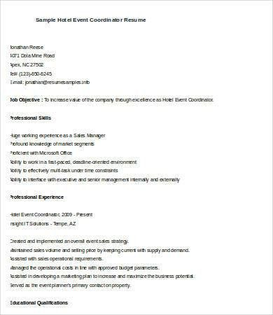 Event Planner Resume. special events coordinator resume example ...