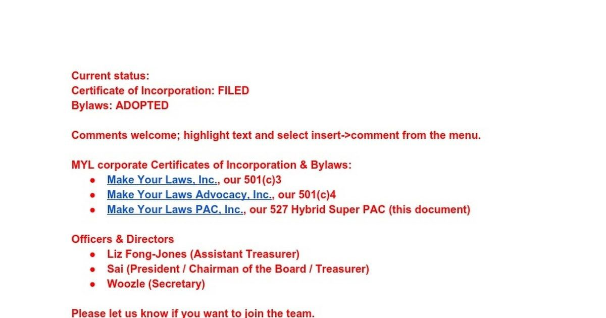 Make Your Laws PAC, Inc. 527 Certificate of Incorporation & Bylaws ...