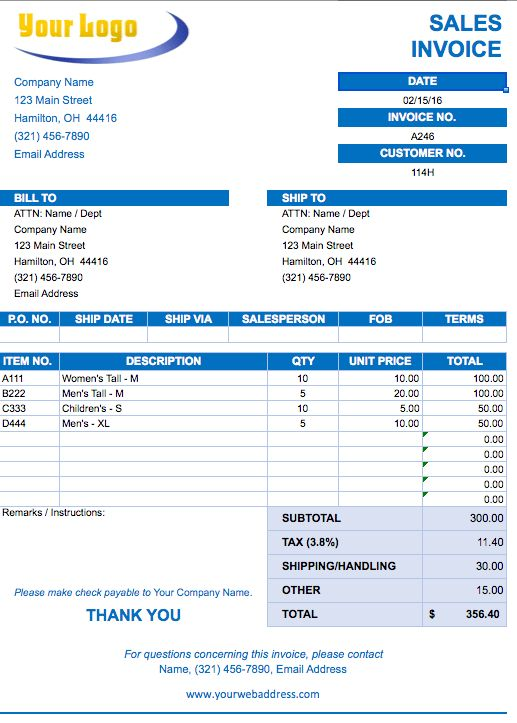 Excel Invoice Template Free | invoice example