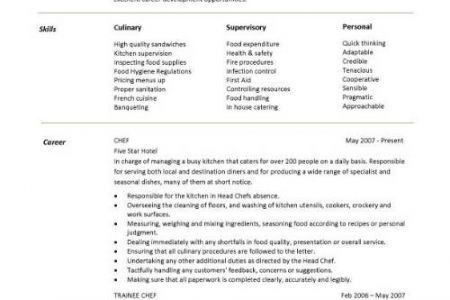 chef resume examples free could you hold on its big responsible ...