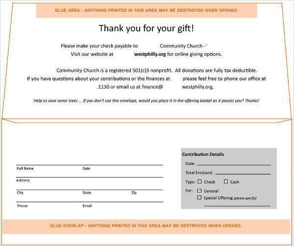 5+ Donation Envelope Templates - Free Printable Word, PSD, PDF ...